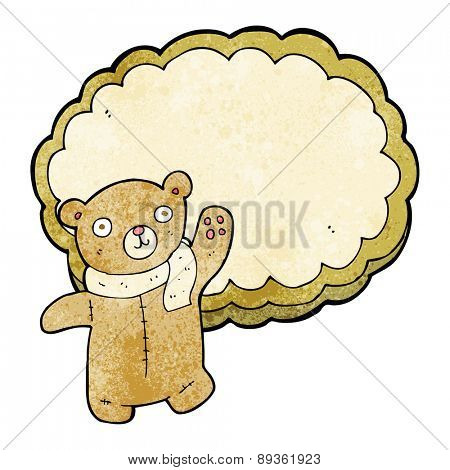 cartoon bear in front of cloud with space for text