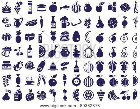 Food Icons On White