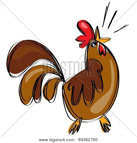 Cartoon Brown Rooster Crowing In A Naif Childish Drawing Style