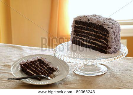 Round chocolate cake individual slice