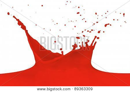 red paint splashing isolated on white