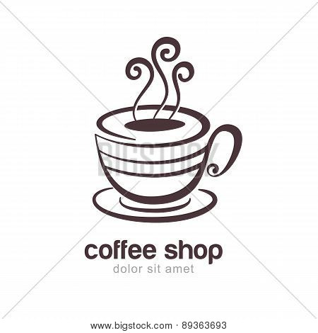 Line Sketch Illustration Of Coffee Or Tea Cup Isolated On White Background. Vector Logo Design Templ