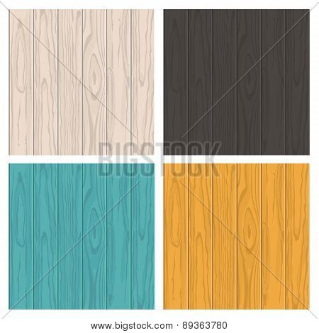 Set Of Vector Wooden Texture Background With Place For Text. White Beige, Black, Blue And Yellow Col