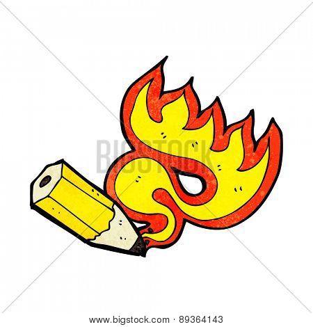 cartoon red hot pencil flaming