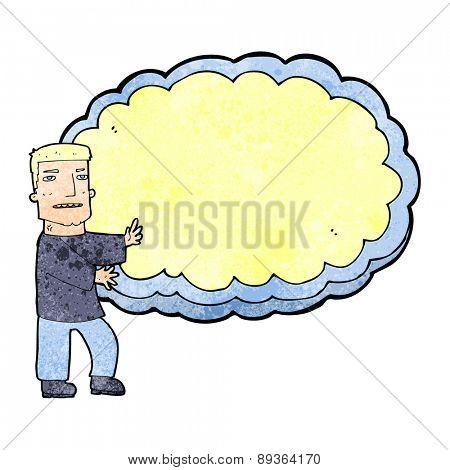 cartoon man presenting text space cloud
