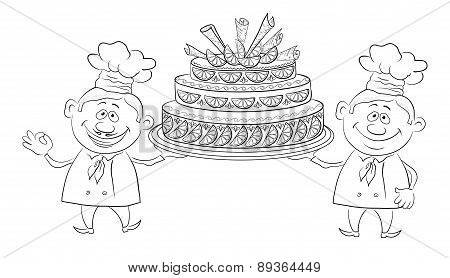 Cooks with holiday cake, outline