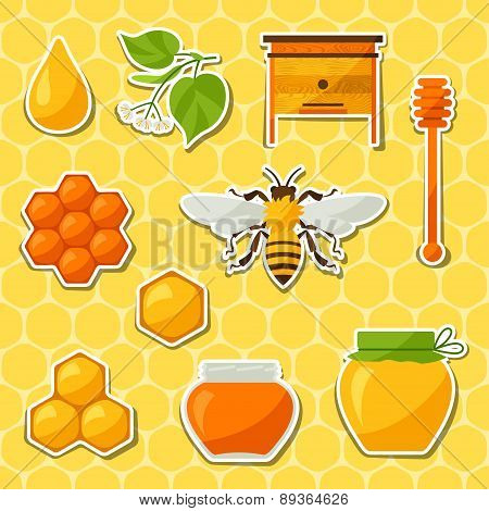 Background design with honey and bee objects