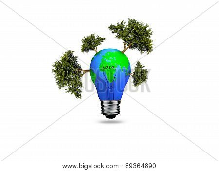 Earth In Light Bulb Isolated On A White Background