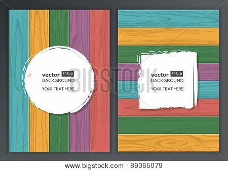 Set Of Vector Wooden Texture Background With Place For Text. Horizontal And Vertical Multicolor Wood