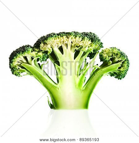 Broccoli cutaway on reflective white background