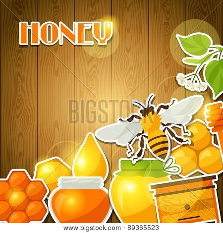 Background design with honey and bee stickers