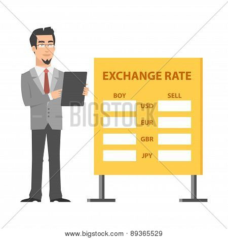 Businessman standing near exchange and holds tablet