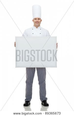 cooking, profession, advertisement and people concept - happy male chef cook holding and showing white blank big board