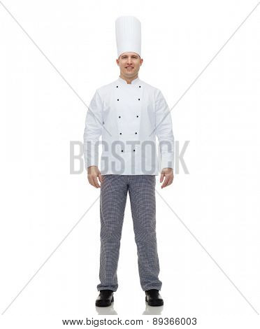 cooking, profession and people concept - happy male chef cook