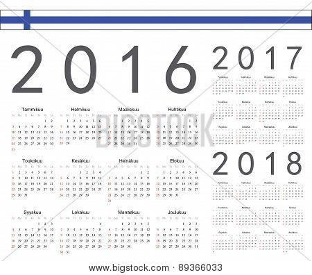 Set Of Finnish 2016, 2017, 2018 Year Vector Calendars