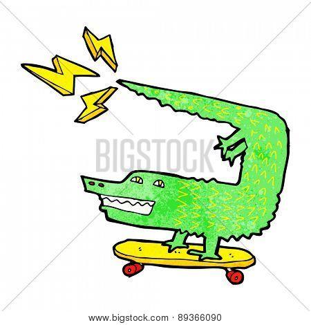 amazing skateboarding alligator