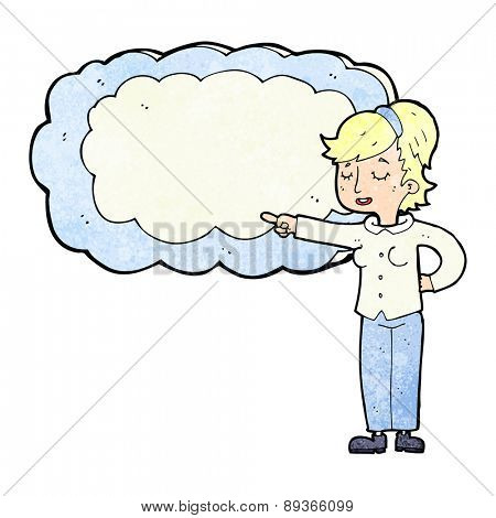 cartoon woman with text space cloud