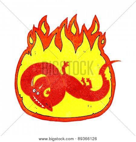 cartoon flaming dragon