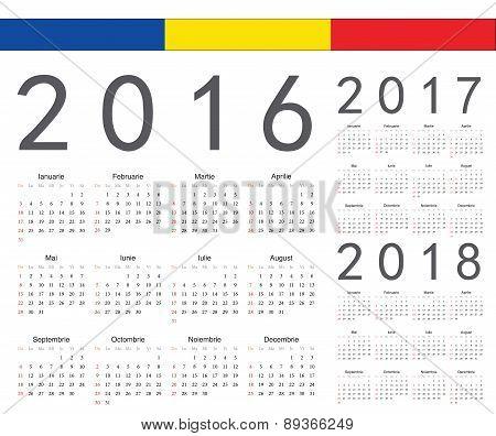 Set Of Romanian 2016, 2017, 2018 Year Vector Calendars