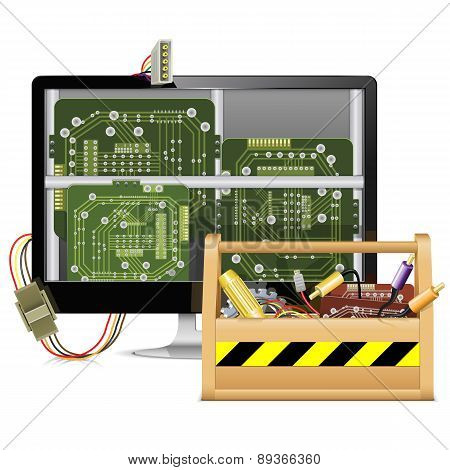 Vector Computer Repair With Toolbox