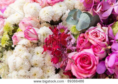 gardening, floristic, holidays and flora concept - beautiful flowers assortment