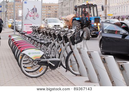 MOSCOW, RUSSIA - APRIL 22, 2015: Row of bicycles on the parking, in Moscow street