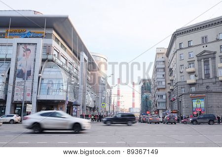 MOSCOW, RUSSIA  -  APRIL 04, 2015: View of the shopping center