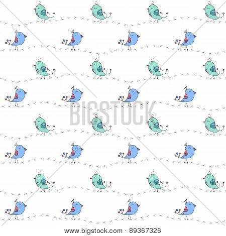 The Black Footprints And Cute Doodle Birds. Seamless Pattern Vector Illustration