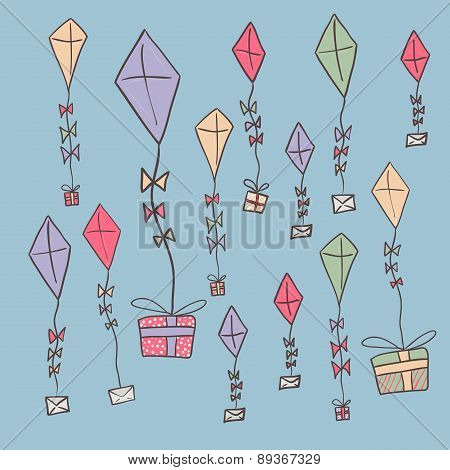 Hand Drawn Color Kites Holding Ribbon. Festive Template