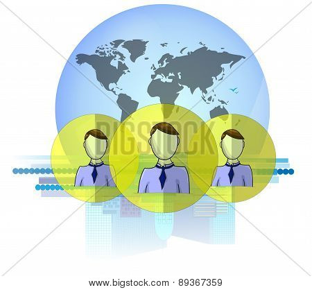 Illustration Of Social Media Heads With International Business Background Isolated On White Backgrou