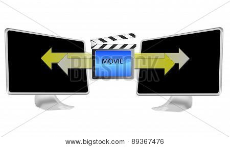 Illustration Of Streaming Movie On Pc Isolated On White Background