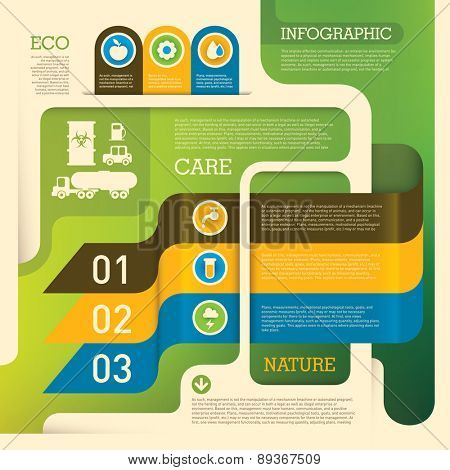 Ecology info graphic background. Vector illustration.