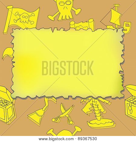 Illustration Of Seamless Pirate Symbols Background With Blank Treasure Map