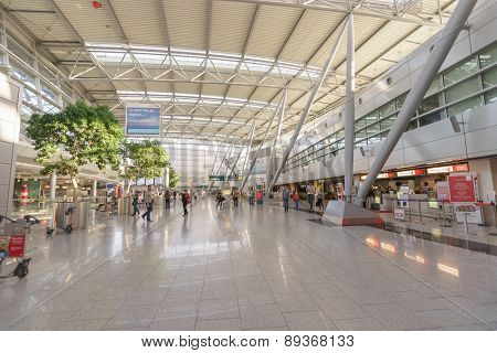 DUSSELDORF, GERMANY - SEPTEMBER 16, 2014: airport interior on September. Dusseldorf Airport is the international airport of Dusseldorf, the capital of the German state North Rhine-Westphalia