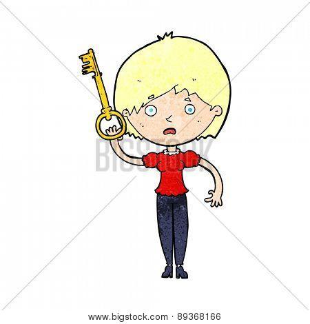 cartoon woman with key
