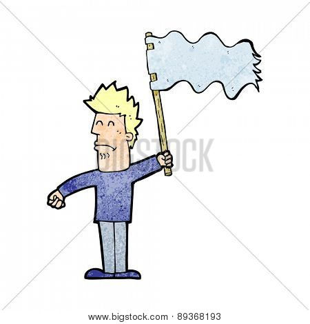 cartoon unhappy man waving flag
