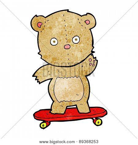 cartoon teddy bear on skateboard