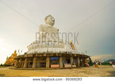 PHUKET, THAILAND - NOV 10: The Big Buddha of Phuket on November 10, 2014. The Big Buddha of Phuket  is on the peak of a mountain near Muang Phuket, or Phuket town.