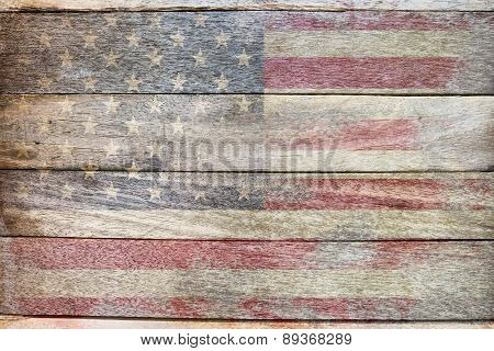 usa flag on wood old school style background