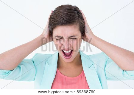 Angry woman screaming on white background