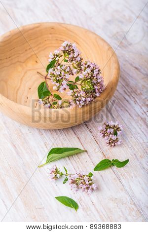 Flowers Of Oregano In Wooden Bowl