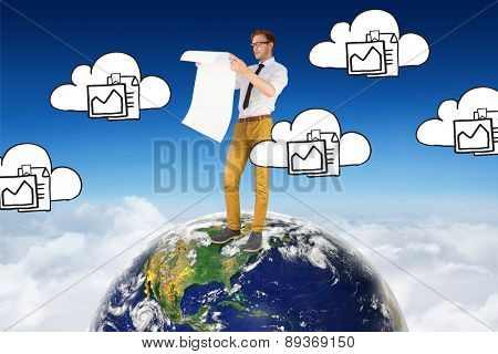 Geeky businessman reading large page against blue sky over clouds