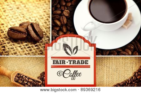 Fair Trade graphic against various pictures representing coffee
