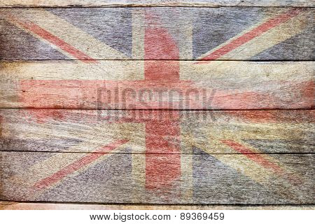 England flag on wood old school style background