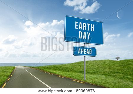 earth day ahead against road leading out to the horizon