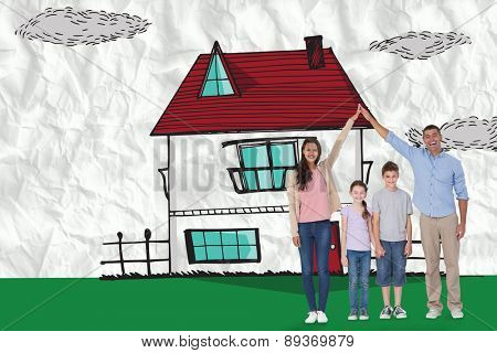 Happy parents joining hands above children against crumpled white page