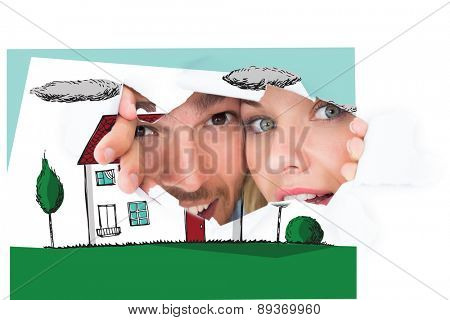 Young couple peeking through torn paper against painted blue wooden planks