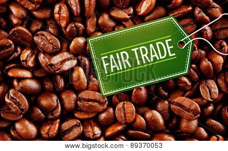 fair trade against close up of coffee seeds