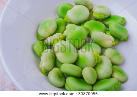 Fresh Broad Bean In White Bowl
