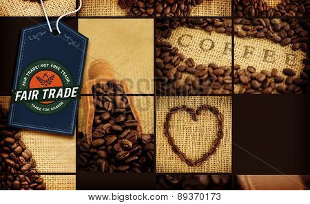 Fair Trade graphic against various pictures with beans